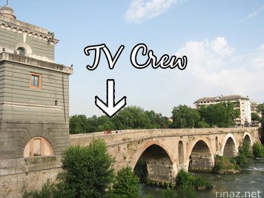 Ponte Milvio and some tv crew
