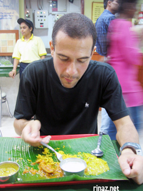 Attilio eats at Ananda Bhavan