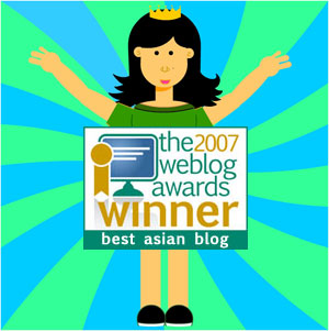 rinaz wins 2007 weblog awards - best asian blog