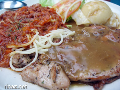 Chicken Chop and Spaghetti at NIE Canteen