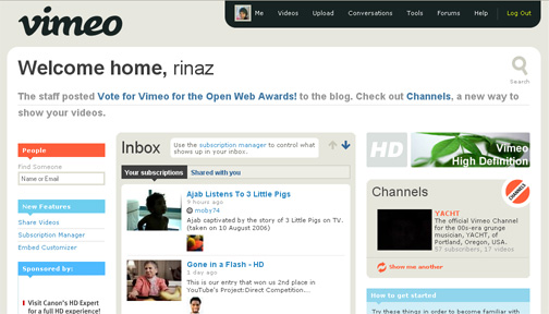 Vimeo first page