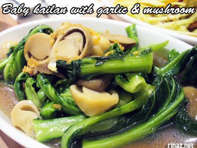 Baby Kailan with garlic and mushroom - Siam Kitchen - Jurong Point