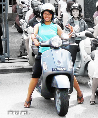 rinaz on a scooter