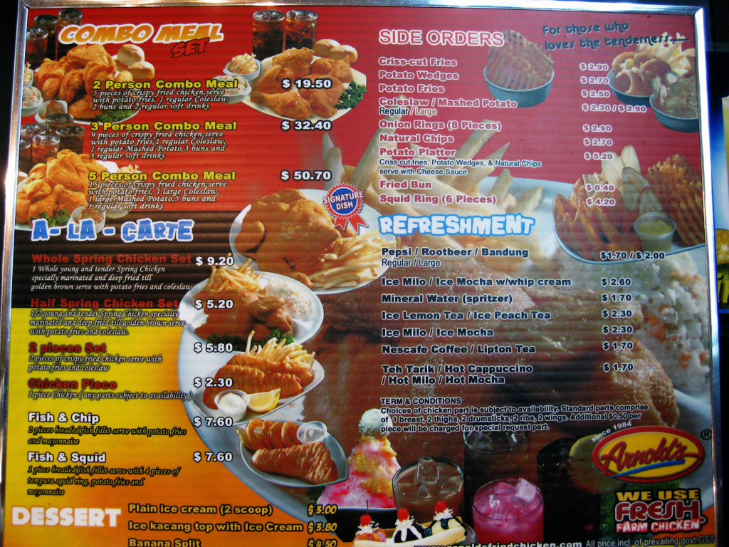 Popeyes Fried Chicken Menu http://rinaz.net/2008/06/arnolds-fried-chicken/