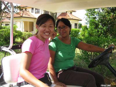 Rinaz and Geri in our buggies at Bintan Lagoon Resort