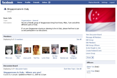 Singaporeans in Italy Facebook