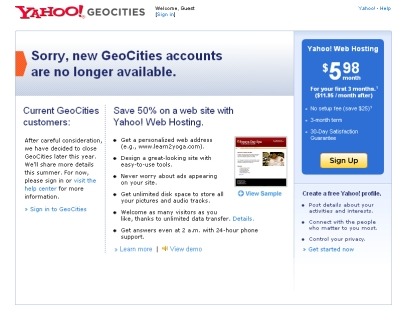 Geocities in 2009