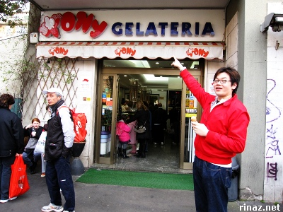Jerrick points to Tony Gelateria, Rome, Italy