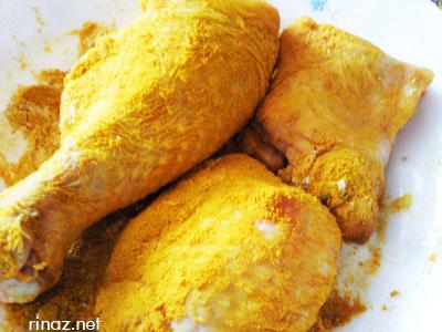 Chicken in tumeric powder