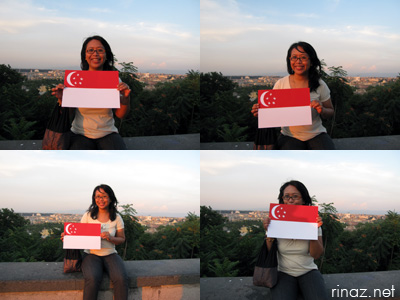 Rinaz camwhoring with a handmade Singapore flag