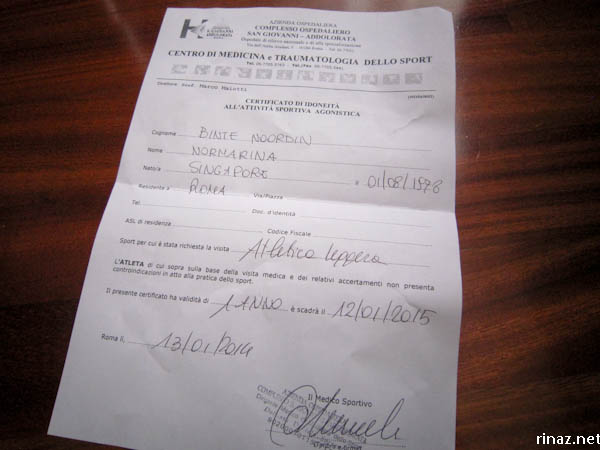 The hidden costs of running in Rome – Medical Certificate from Doctor