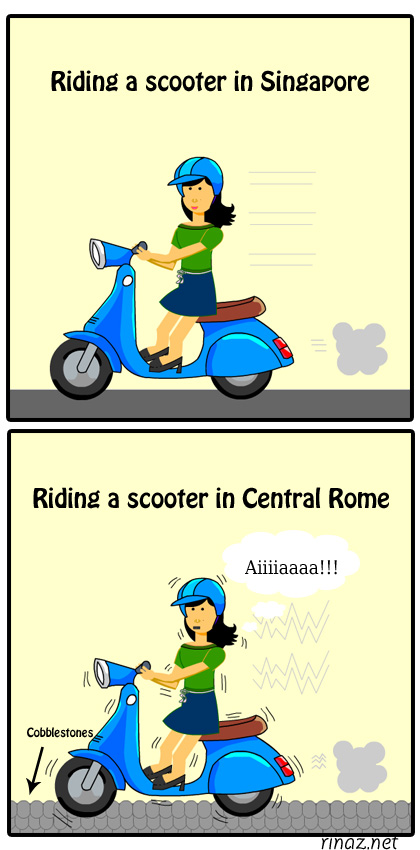 rinaz.net Toon riding a scooter in Rome